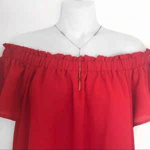 Tops - Off The Shoulder Red Top.